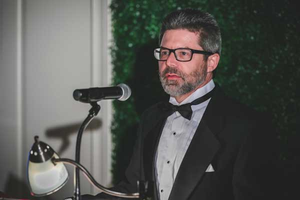 Dean Jeff Russell speaking at the Odyssey gala