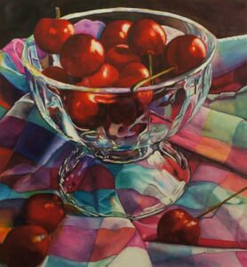 painting of apples in a bowl on a checked table cloth