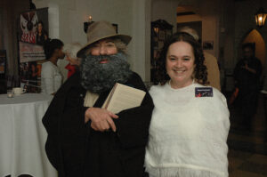 Emily Auerbach (right) dresses up as poet Emily Dickinson at last year's Night of the Living Humanities fundraiser.