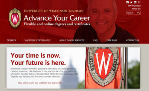 The new homepage for the Advance Your Career website