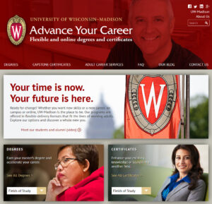 screen shot of the Advance Your Career Website