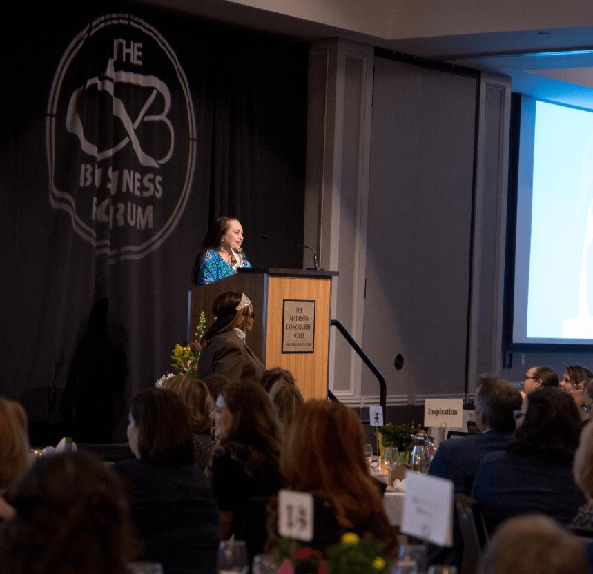 Emily Auerbach giving speech after winning Athena Award