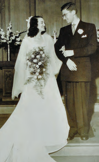 Wanda and Robert Auerbach at their wedding in Berea College's chapel.