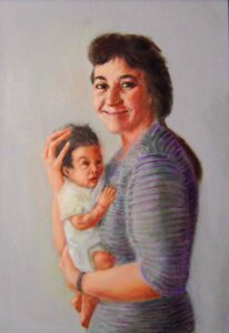 Paintings like 'Mother and Child' vividly evoke Chover's love for his late wife, Flo.