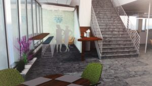 Rendering for a functional and engaging space.