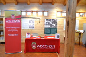 UW-Madison MOOC info booth at the Baraboo hunting and cooking event.
