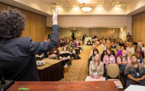 The conference offers opportunities to network with presenters.