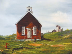 Larry Scheckel's 'Oak Grove School' pictures a one-room schoolhouse standing solidly in a sea of grass.