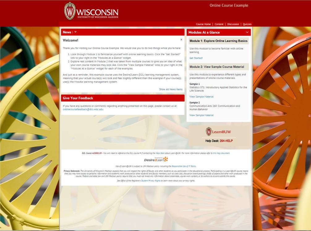 screenshot of UW-Madison online course