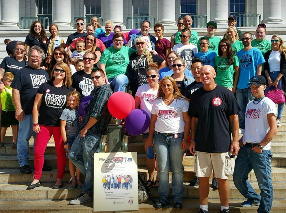 Voices for Recovery group on the Wisconsin Capitol steps