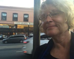 Laurie Scheer at City Lights, San Francisco's legendary literary hot spot.