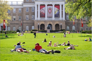 Relaxing on Bascom Hill (photo by Jeff Miller).