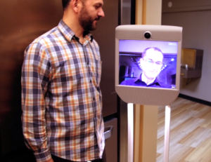 Telepresence robots allow people to navigate an environment from afar.