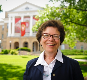 Rebecca Blank in front of Bascom Hall
